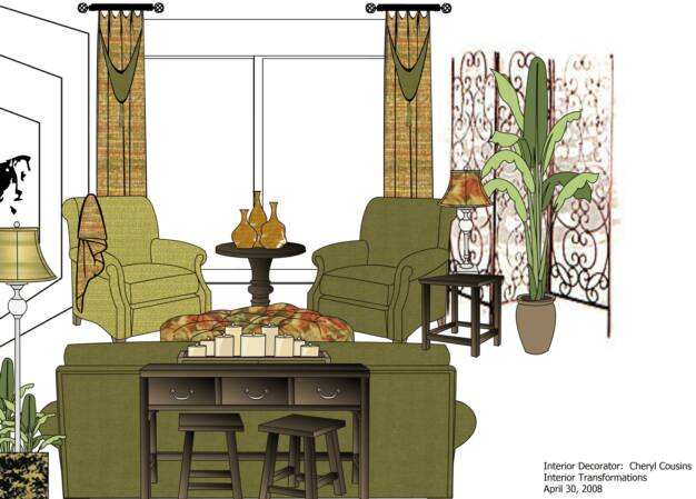 Custom Interior Decorating Project Drawing, Interior Transformations, by Cheryl Cousins